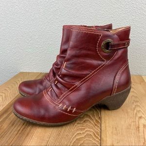 Pikolinos red leather side zip booties size eur 38